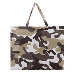 Urban White And Brown Camo Pattern Zipper Large Tote Bag