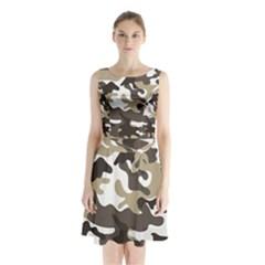 Urban White And Brown Camo Pattern Sleeveless Chiffon Waist Tie Dress