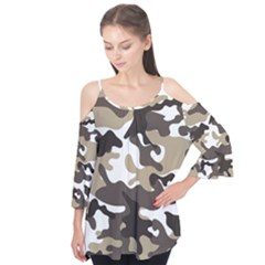 Urban White And Brown Camo Pattern Flutter Tees