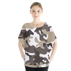 Urban White And Brown Camo Pattern Blouse