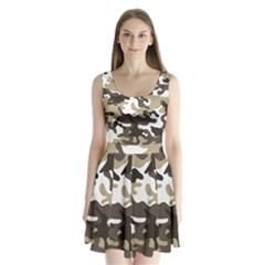 Urban White And Brown Camo Pattern Split Back Mini Dress