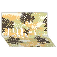 Pixel Desert Camo Pattern HUGS 3D Greeting Card (8x4)