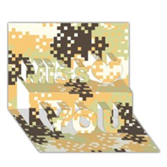 Pixel Desert Camo Pattern Miss You 3D Greeting Card (7x5)
