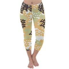 Pixel Desert Camo Pattern Capri Winter Leggings