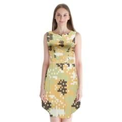 Pixel Desert Camo Pattern Sleeveless Chiffon Dress