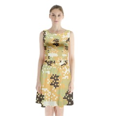 Pixel Desert Camo Pattern Sleeveless Chiffon Waist Tie Dress