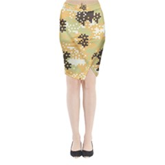 Pixel Desert Camo Pattern Midi Wrap Pencil Skirt