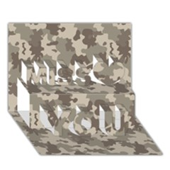 Grey Camouflage Pattern Miss You 3D Greeting Card (7x5)