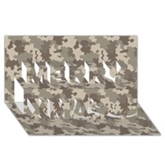 Grey Camouflage Pattern Merry Xmas 3D Greeting Card (8x4)