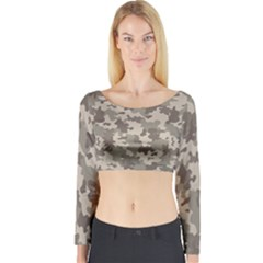 Grey Camouflage Pattern Long Sleeve Crop Top