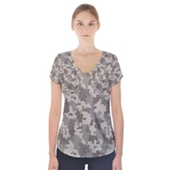 Grey Camouflage Pattern Short Sleeve Front Detail Top