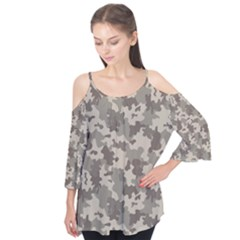 Grey Camouflage Pattern Flutter Tees