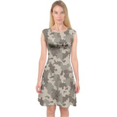 Grey Camouflage Pattern Capsleeve Midi Dress