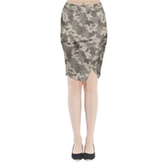 Grey Camouflage Pattern Midi Wrap Pencil Skirt
