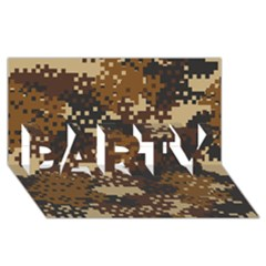 Pixel Brown Camo Pattern PARTY 3D Greeting Card (8x4)
