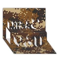 Pixel Brown Camo Pattern Miss You 3D Greeting Card (7x5)