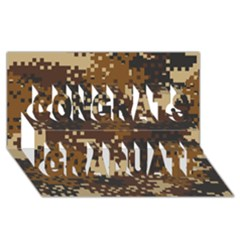 Pixel Brown Camo Pattern Congrats Graduate 3D Greeting Card (8x4)
