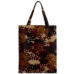 Pixel Brown Camo Pattern Zipper Classic Tote Bag
