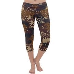 Pixel Brown Camo Pattern Capri Yoga Leggings