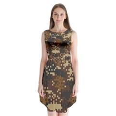 Pixel Brown Camo Pattern Sleeveless Chiffon Dress