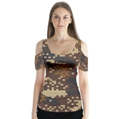 Pixel Brown Camo Pattern Butterfly Sleeve Cutout Tee