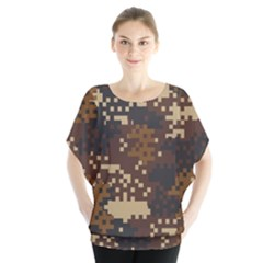 Pixel Brown Camo Pattern Blouse