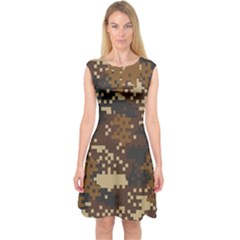 Pixel Brown Camo Pattern Capsleeve Midi Dress