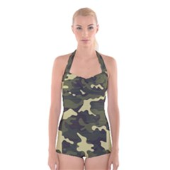 Green Camo Pattern Boyleg Halter Swimsuit
