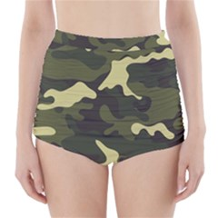 Green Camo Pattern High-Waisted Bikini Bottoms