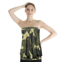 Green Camo Pattern Strapless Top