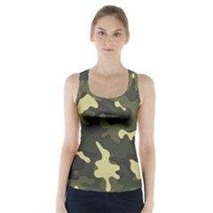 Green Camo Pattern Racer Back Sports Top