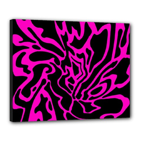 Magenta and black Canvas 20  x 16