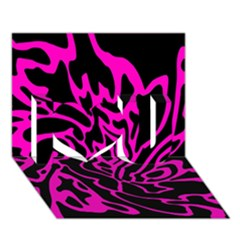 Magenta and black I Love You 3D Greeting Card (7x5)