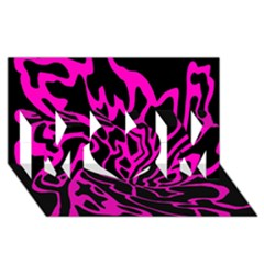 Magenta and black MOM 3D Greeting Card (8x4)