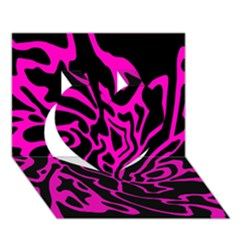 Magenta and black Heart 3D Greeting Card (7x5)