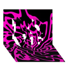 Magenta and black LOVE 3D Greeting Card (7x5)