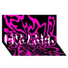 Magenta and black ENGAGED 3D Greeting Card (8x4)