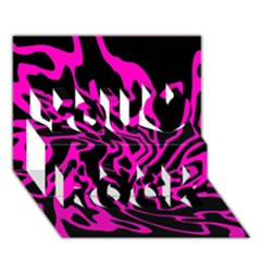 Magenta and black You Rock 3D Greeting Card (7x5)