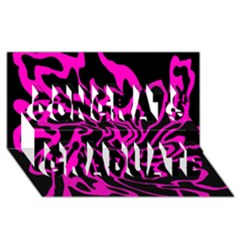 Magenta and black Congrats Graduate 3D Greeting Card (8x4)