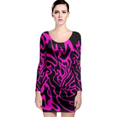 Magenta and black Long Sleeve Bodycon Dress
