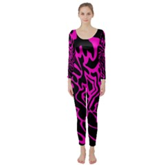 Magenta and black Long Sleeve Catsuit