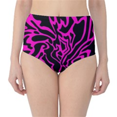 Magenta and black High-Waist Bikini Bottoms