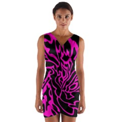 Magenta and black Wrap Front Bodycon Dress
