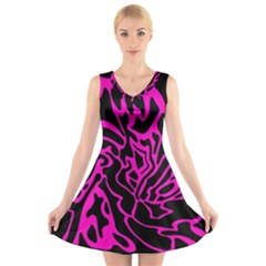 Magenta and black V-Neck Sleeveless Skater Dress