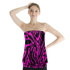 Magenta and black Strapless Top