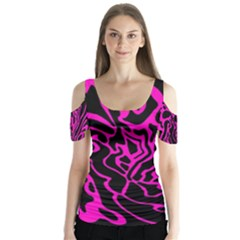 Magenta and black Butterfly Sleeve Cutout Tee