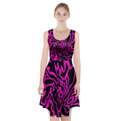 Magenta And Black Racerback Midi Dress