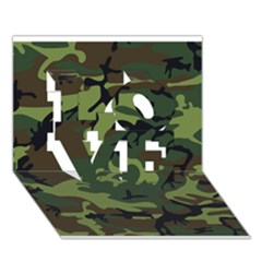 Woodland Camouflage Pattern LOVE 3D Greeting Card (7x5)