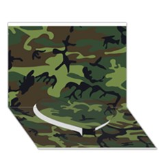Woodland Camouflage Pattern Heart Bottom 3D Greeting Card (7x5)