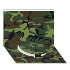 Woodland Camouflage Pattern Circle Bottom 3D Greeting Card (7x5)